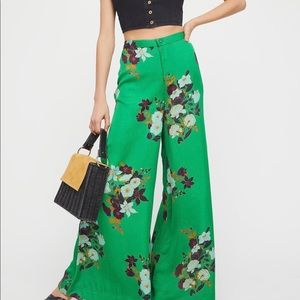 Free People Emerald Floral Wide Leg Pant NWOT